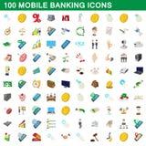 100 mobila bankrörelsesymboler uppsättning, tecknad filmstil stock illustrationer