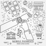 Mobila betalningar genom att använda en smart klocka Online-shoppingbegrepp för Royaltyfri Bild