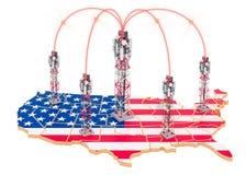 Mobila kommunikationer i Förenta staterna, celltorn på översikten framf?rande 3d royaltyfri foto