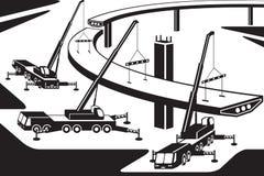 Mobila kranar som installerar delen av en bro vektor illustrationer