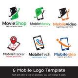 Mobila Logo Template Design Vector Royaltyfri Bild