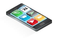 Mobila marknadsföringsapps på smartphonen Stock Illustrationer