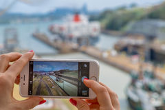 Mobila minnen på den Panama kanalen Royaltyfri Foto