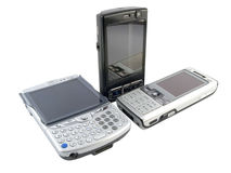 mobila moderna telefoner flera staplar white Arkivbild