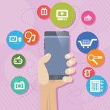 Mobila PhoneShopping Shoping stock illustrationer