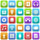 Mobila symboler, socialt massmedia, mobil applikation, internet stock illustrationer