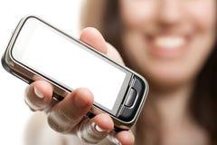 mobila telefonkvinnor för hand Royaltyfri Foto