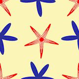 Red and blue starfish pattern on sandy beach stock illustration