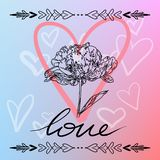 Happy Valentines Day card, typography, background with hearts - stock images