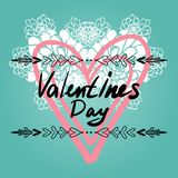 Happy Valentines Day card, typography, background with hearts - stock photo