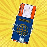 Lock with chain on the passport and plane tickets. Pop art retro vector illustrati. Lock with chain on the passport and plane tickets. Prohibition of entry and royalty free illustration