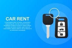 Banner of Rent auto service. Trading cars and rental cars. Web Site, Advertising like Hand and Key. Vector illustration. royalty free illustration
