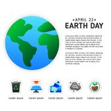 Earth day info graphic poster template with modern icon of Earth vector illustration