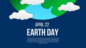 Earth day poster template with modern icon of Earth and clouds royalty free illustration