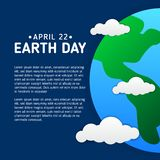 Earth day poster template with modern icon of Earth and clouds stock illustration