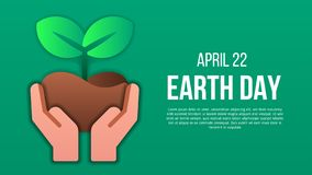 Earth day poster template with modern icon of holding plant stock illustration