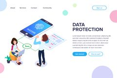 Isometric data protection Concept. Successful access to files by fingerprint. Small people next to large smartphone and document. Isometric data protection vector illustration