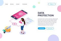 Isometric data protection Concept. Error access to files by fingerprint. Small people next to a large mobile phone and document. Vector illustration isolated royalty free illustration