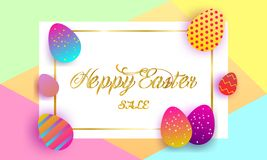 Happy Easter lettering background royalty free illustration