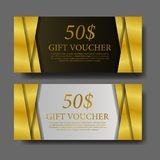 Gift card Voucher coupon banner promotion marketing template. Gift Voucher coupon banner promotion marketing template. luxury marketing. Gold color stock photos