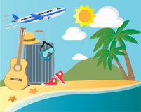 Summer vacation set travel concept royalty free stock photography