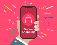 Hand holding smartphone and online shopping stock illustration