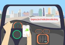 Driver holding smartphone watch chat app royalty free illustration