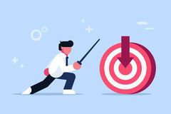 Right on target. Perfect hit. Man hits the target cent. Fencing lesson. Possession of weapons. Flat vector editable illustration.  royalty free illustration