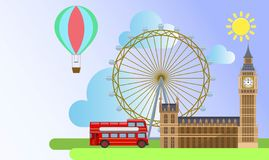 London architecture. such as london eye wheel , westminster palace ,  tourist balloon vector illustration
