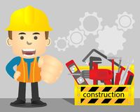 Repairman with yellow toolbox and repair equipment royalty free stock photo