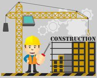 Construction engineering with screwdriver in hand on under construction background stock illustration