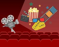 Movie cinema poster design. vector banner for show royalty free stock photography