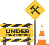 Warning sign under construction on the city background stock image
