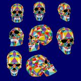 Skull colorful illustration from polygons. Typography, t-shirt graphics, vectors. 9 polygonal colorful skulls. Vector, EPS 10 stock illustration