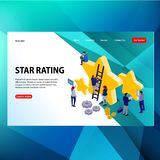modern futuristic template concept build stars rating word concept people talking vector illustration, can use for, landing page, vector illustration