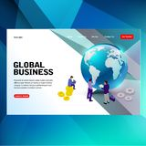 Modern futuristic template concept finance and marketing with global royalty free illustration
