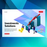 Bank development economics strategy. Commerce solutions for investments, analysis concept. Analysis of sales, statistic grow data, royalty free illustration