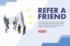 Refer a friend word concept vector illustration with character silhouette man people talking. landing page, template, ui, web, mob royalty free illustration