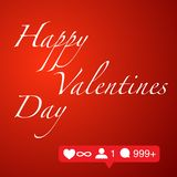 Happy valentines day on red background social network concept stock illustration