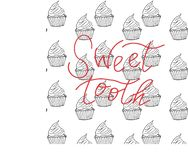 Iinscription sweet tooth on the background of cakes vector illustration