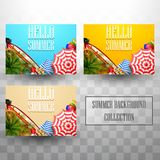 Beautiful top view summer beach background collections vector illustration