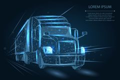 Abstract image of a Truck consisting of points, lines, and shapes. 3d heavy lorry van on Highway road. Transportation vehicle, delivery transport, cargo stock illustration