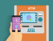 Mobile access to ATM. Illustration of mobile access to ATM via smartphone using fingerprint identification stock illustration