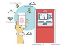 Mobile access to ATM via smartphone using fingerprint identification. Flat line contour illustration of payment via smartphone app Royalty Free Stock Photos