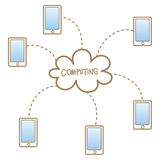 Mobile accessing to cloud computing system. Cartoon drawing of mobile accessing to cloud computing system Royalty Free Stock Photography