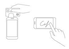 Mobile acquiring with signature Stock Photos