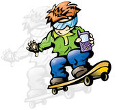 Mobile active kid. Hip hop boy in colorful fun skateboarding drawing Royalty Free Stock Photos