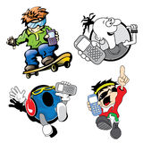 Mobile active kids. Hiphop kids in colorful fun drawing Royalty Free Stock Image