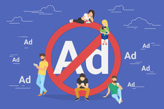Mobile ad prohibition concept illustration Stock Photography