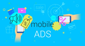 Mobile ads and marketing on smartphone creative concept vector illustration. Human hands hold smart phone with promo discounts and sale offer. Online Stock Photography